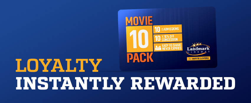 Landmark Cinemas Movie 10 Pack - The Card for Movie Lovers