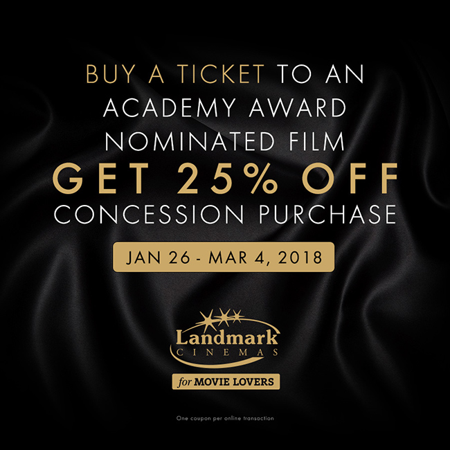 Experience the glitz, the glamour, the great savings this awards season at Landmark Cinemas