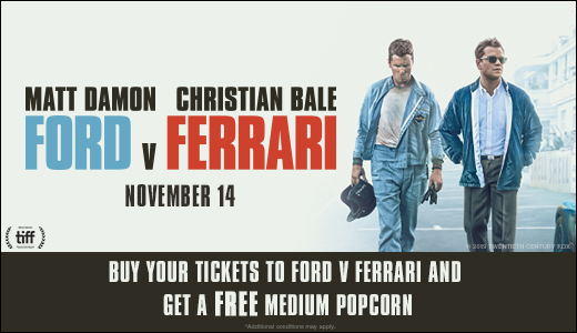 FORD V. FERRARI Free Popcorn Offer